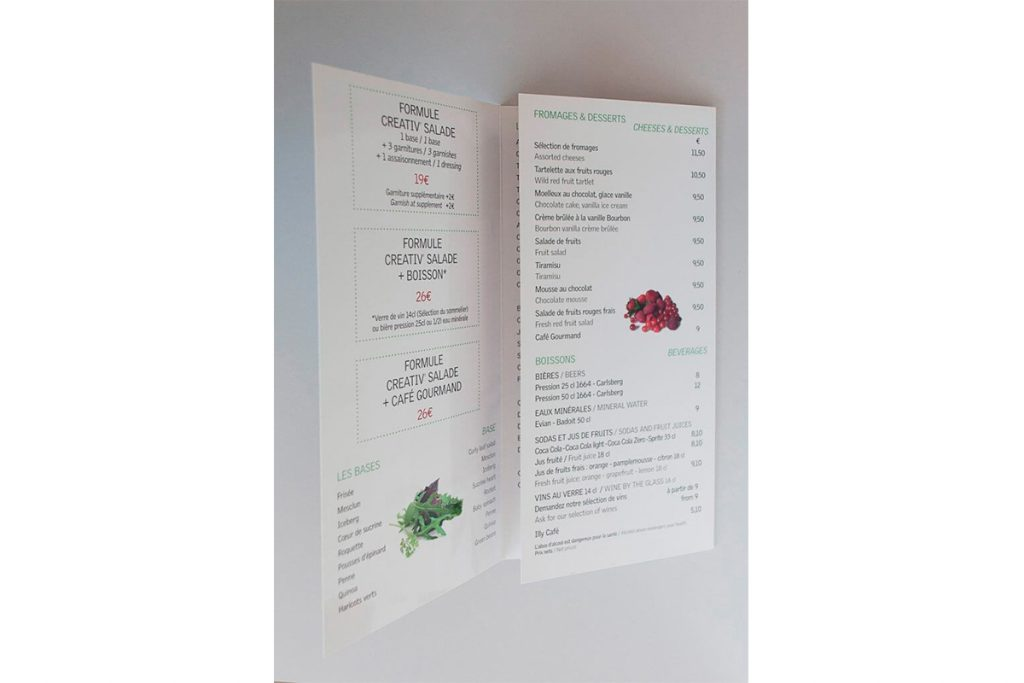 Verso d'un dépliant menu